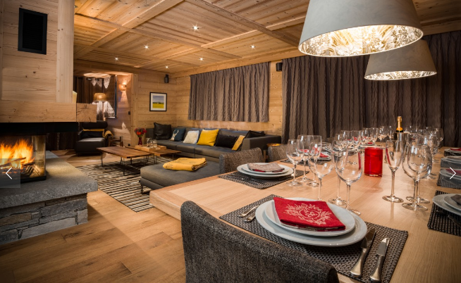 A warm and welcoming stay awaits guests in this elegant ski chalet