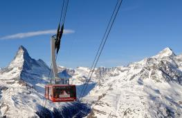 Rothorn aerial gondola paradise in winter copyright Zermatt Tourist Board
